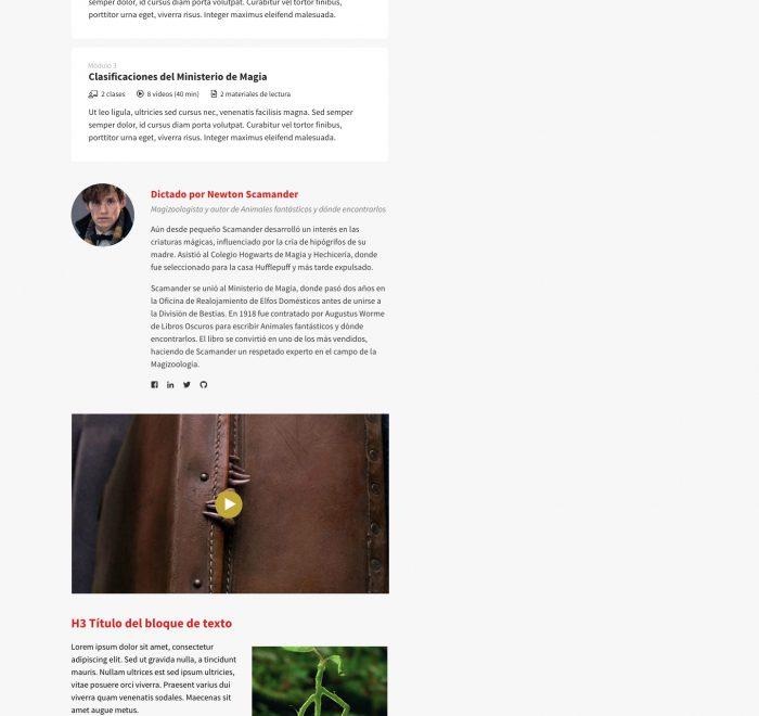 Página de Ventas Cursify - Estructura Encolumnada